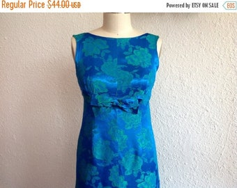 SALE 1960s Blue satin party dress