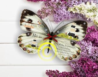 Christian Gift - Handmade Bible Verse 3D Butterfly Luke 18 v 27, 3D Gift
