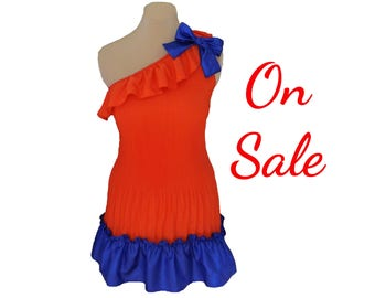 Orange + Blue One Shoulder Dress