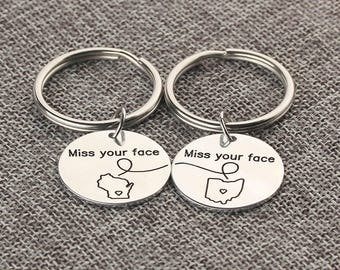 Custom  Long Distance Keychain  - State Disc Key Chain - Personalized Text Bar Key Ring - Miss Your Face - Couple Gift - Set of 2