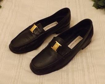 Vintage Etienne Aigner Black Leather Loafers Size 7