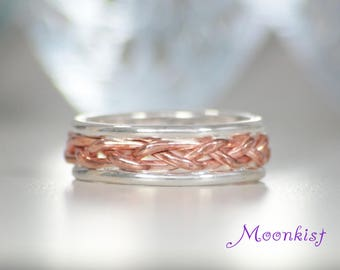 Copper Braid Wedding Band with Rails in Sterling, Silver and Copper Band, Two Tone Unique Wedding Ring, Copper Braided Band