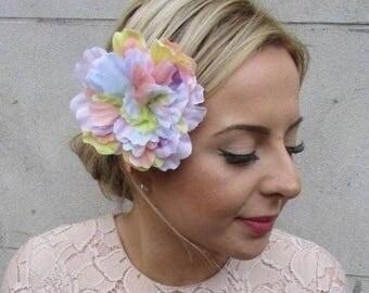 Large Pastel Rainbow Peony Flower Hair Clip Rose Big Fascinator Festival 5205