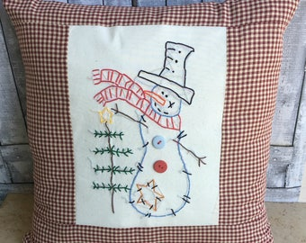Snowman Pillow, Snowman Christmas Pillow,Hand Stitched,Embroidered, Country Christmas Decoration, Winter Decor,Primitive Christmas