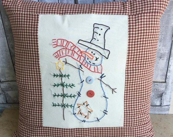 Featured listing image: Snowman Pillow, Snowman Christmas Pillow,Hand Stitched,Embroidered, Country Christmas Decoration, Winter Decor,Primitive Christmas