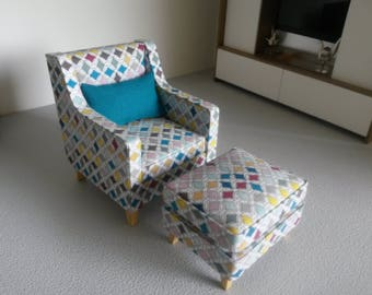 Modern Miniature Dollhouse Chair and Footstool 1:12 Scale