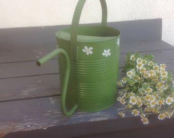 Handmade Vintage Watering Can Avocado Green