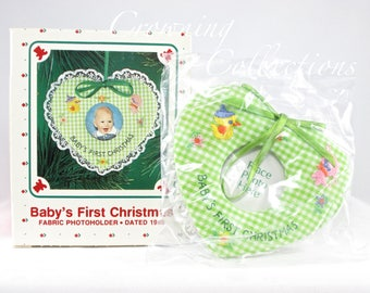 1986 Hallmark Baby's First Christmas Keepsake Ornament Photo Frame Photo Holder Boy or Girl Gingham Heart Vintage 1st NEW HTF Picture