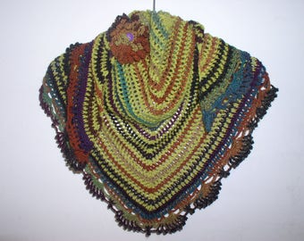 scarf, small Gypsy shawl, neck and PIN