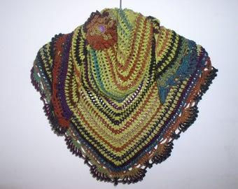 scarf, small Gypsy shawl, neck and PIN