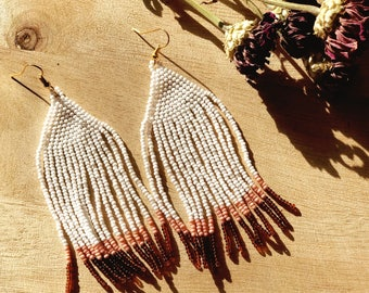 Color Dipped Handwoven Seed Bead Earrings