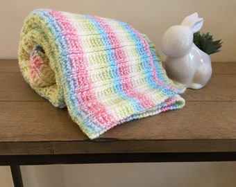 Hand knit orange,blue,white,and green stripe baby blanket/easy to wash hand knitted stripe baby blanket/stroller blanket/car seat blanket