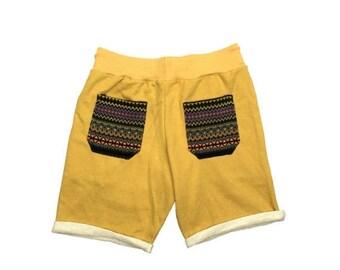 Beach shorts for Mens & Womens, Tribal pocket Shorts, Hipster shorts, Casual Summer shorts, Comfy short, Festival Clothing, Yellow color