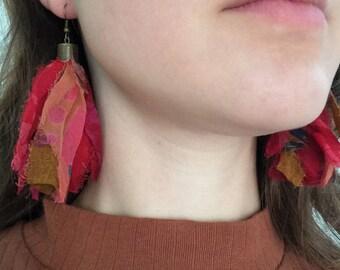 Pink Magenta Sari Silk Ribbon Tassel Earrings, Boho Tassel Earrings, Bohemian Tassel Earrings, Festival Earrings, Sari Silk Boho Jewelry