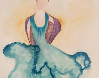 Malena - size 21cm watercolor Anissima * 29. 7 cm