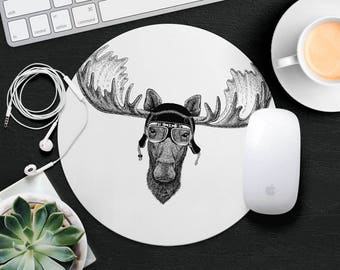 Deer Mouse Pad Antlers Mouse Mat Funny MousePad Cute Kids Mouse Pad Hipster MouseMat Animal Lover Gift Desk Accessories Animal in Glasses