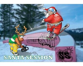 SKI CHRISTMAS CARD - Santa session - Funny Christmas card
