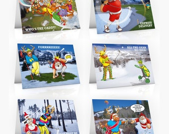6 PACK of Golf Christmas Cards - A5 Size - Funny Christmas cards