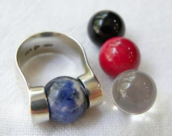 Sterling silver interchangable ring, sterling marble ring, interchangeable marble ring, unique vintage sterling silver interchanable ring