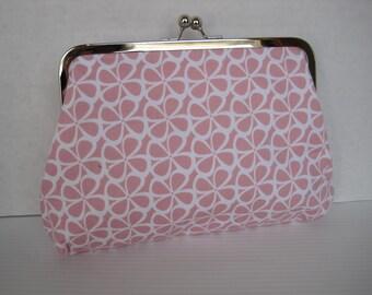 Handbag, Clutch Purse, Pink and White Fabric, Handmade, Women's Accessories, Cotton Print, Evening Bag, Ladies Gift