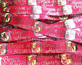 "7/8"" Wizard Inspired Grosgrain Ribbon Brave At Heart Scarlet US Designer Ribbon"