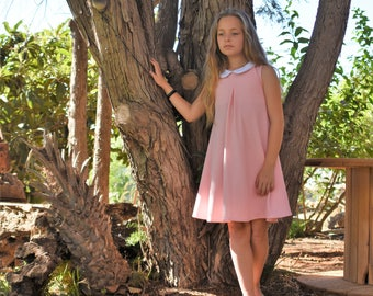 Pink party dress for girls - Girl's soft pink lace dress - sleeveless party dress for toddler girls
