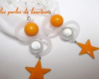 joyful orange tube earrings