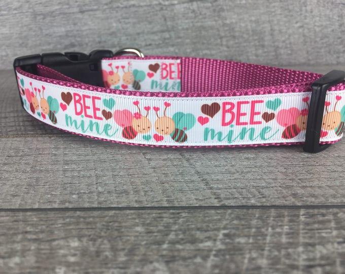 "2018 Valentine's Collection - Bee Mine | Designer 1"" Width Dog Collar | CupcakePups Collars | Medium/ Large Dog Collar"