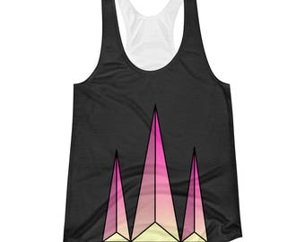 Women's Pyramid Racerback Tank, geometric, pink and yellow, original design, gift idea, present, workout, apparel, clothing, shirt