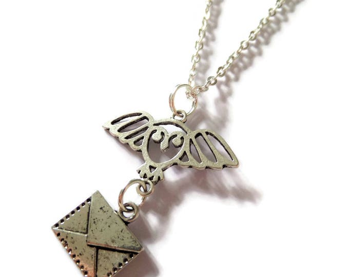 Wizard gift, owl necklace, envelope necklace, hedwig necklace, message necklace, fan gift, wizard necklace, wizard jewelery