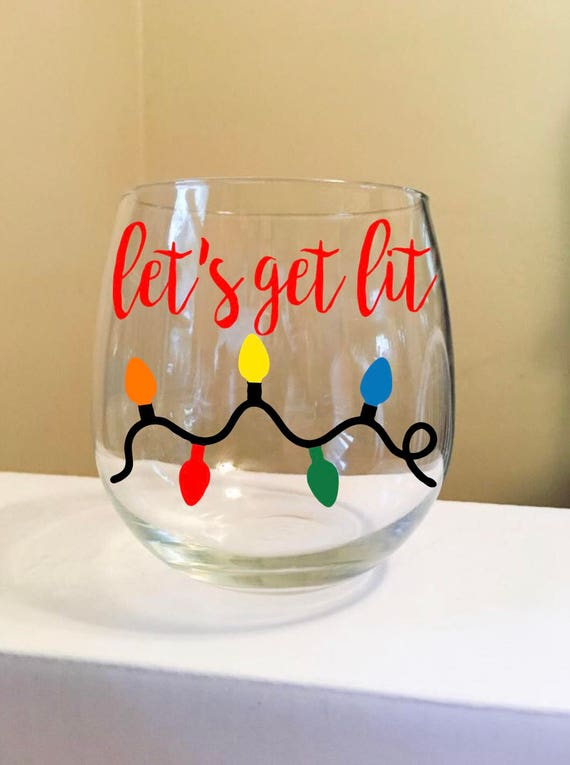 Let's Get Lit Stemless Wine Glass