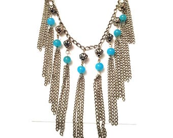 Silver Rain Fringe Necklace