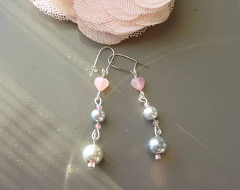 "Earring ""parfum de rose"" heart, Pearl bead"