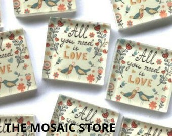 Hand Printed 2.5cm Glass Tiles - Pattern 11