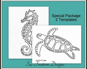 Sea Turtle & Seahorse SPECIAL Package TEMPLATES ONLY:  Instant Downloads
