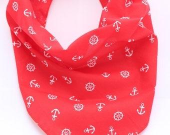 Red Anchors Puppy Dog Bandana