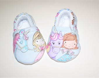 Baby Booties with Unicorn prints ( prints may vary), Girl Baby shoes, Crib shoes, Baby Gifts