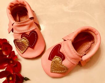 Baby Moccasins, Hearts Baby Moccasins, Pink Genuine Leather