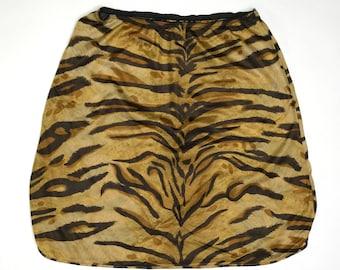 vintage nylon tiger stripe half slip by Van Raalte size small