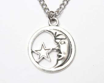 Crescent Moon Charm Pendant, Silver Moon Necklace, Moon and Star Necklace, Silver Star,  Moon Necklace