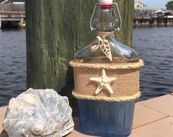Coastal Bottle With Starfish / Nautical Kitchen / Coastal Kitchen / Beach  House Kitchen / Coastal