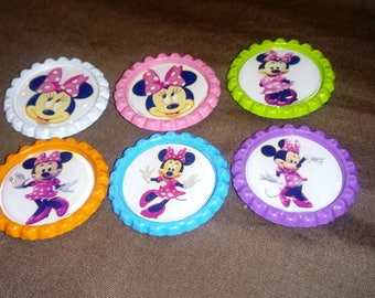 Minnie Mouse Color Bottle Cap Magnets - 6pc Set