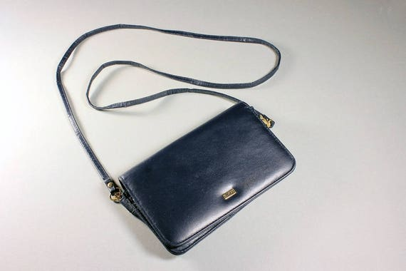 Buxton Leather Wallet, Ladies Wallet, Shoulder Strap Included, Navy Blue, Clutch Purse,