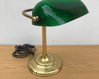Lampe en verre etsy - Lampe de bureau banquier laiton verre vert ...