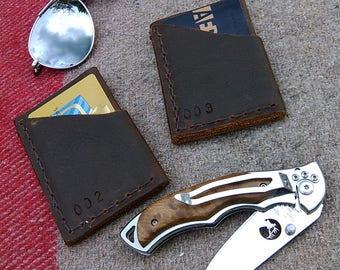 Slim Leather Card Wallet, Credit Card Wallet, Handmade, Serialized