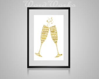 "Personalised Wedding Champagne Flute Word Art Gift  **Buy 3 prints get the 4th FREE**  Use coupon code "" MYFREEONE """