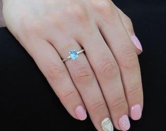 Real Topaz Ring, 1.40 Carat London Blue Topaz Ring,  Natural Topaz Ring, Anniversary Ring, Engagement Ring, Promise Ring, Summer Ring