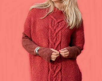 Pink women sweater - poncho hand made / custom