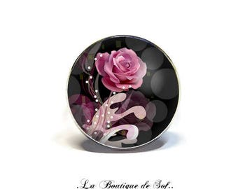 Adjustable ring with cabochon 18 mm * pink * (050218)