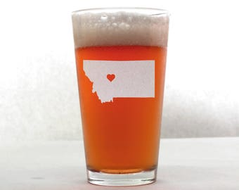 Montana Beer Glass - State Pint Glass - Pint Glass - Personalized Pint Glass - Etched Pint Glass - Groomsmen Pint Glass